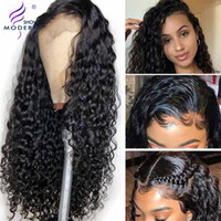Modern Show Hair Water Wave 4x4 Lace Closure Wig Peruvain Remy Human Hair Wigs Pre Plocked 30 tum Perruque Natural Color 150%