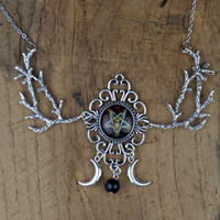 Gioielli Strega Pentagram Crescent Moon Collana Fantasy Forest Branch Magia Wiccan Pagan Goth