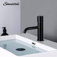 bathroom faucet black brass single hole household hot and co...