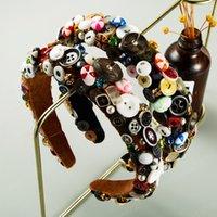 Individual completa Colorful Headband Botão de plástico para jóias mulher elegante Feito à Mão Rhinestone Sponge Mulher Hairband Cabelo Partido