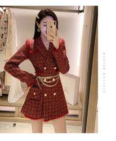 Kore moda kadın 2020 yeni ince bel zincirleri kemer yamalı tüvit yün orta uzun ceket abrigos artı boyutu s m l