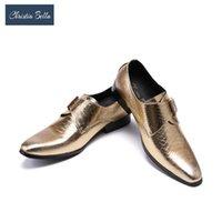 Обувь платье Кристиа Белла Британский стиль Натуральная кожаная бушенность для мужчин Формальные Оксфорды Золотая Свадьба