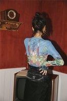 As mulheres vêem CHEERART Sheer malha Top manga comprida apertado camiseta Através Graphic Tees básico T-shirt Roupa interior queda Moda Primavera 200925