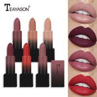 Lip Gloss Teayason 1PC Matte Rouge à lèvres Ensemble Glaze Noir Coupe Nu Nude Cadeau Nu pour la petite amie Quotidien Cosmétiques