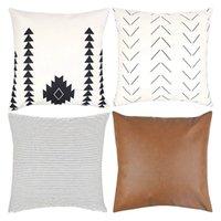 Декоративный Бросьте наволочки только для Couch, диван, кровать или набор из 4 18x18 дюйма Современного дизайна короткого плюша Stripes Geometric Фо наволочки