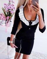 Тощий Кнопка с длинными рукавами Scoop Neck пуловер Футболки Мода женщин Топы Кружева Дизайнер Tshirts Женщины Ruffle Solid Color Сладкие Слим