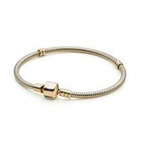 NOVO 100% 925 Sterling Silver alta qualidade 550702 Momentos de Ouro Fecho Bracelet Fit DIY Charme Mulheres Original Bijuterias Gift1