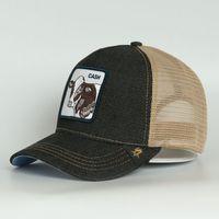 موضة جديدة 2021 جودة عالية الحيوان شعار البيسبول قبعة بلاك جينز سائق شاحنة قبعة تنفس شبكة قبعات