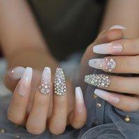 Kristall Ombre Nails Voll Designed Strass Ballerina Künstliche Nägel lange natürliche Weiß Designer-Nagel-Kunst