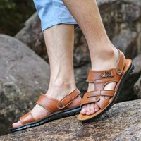 Men Fashion Sandals Summer Slip- On Beach Shoes for Men Brown...