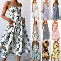 Урожай Повседневного Sundress Женского пляж платье Midi Кнопка Backless горошек Полосатое платье женщины лето 2020 Boho Sexy цветочный