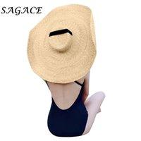 النساء SAGACE القبعة الواسعة الحافة قبعة من القش شاطئ الحماية من الشمس كبيرة في الهواء الطلق طوي سترو كاب الأزياء ظلة المتضخم شاطئ كاب
