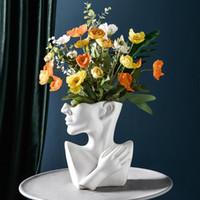 cerâmica criativas nórdicos vaso cabeça humana abstrato Meio vaso de flores corpo Arranjo de flor rosto humano decoração de casa moderna