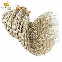 Platin renk kıvırcık keratin prebonded insan saç uzantıları manikür hizalı remy 100g bir paket