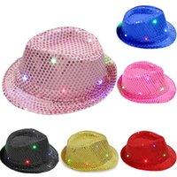 Los niños que brilla adultos LED parpadeante Lentejuelas Jazz sombrero de ala del sombrero de fiesta de cumpleaños espectáculo de danza de la boda decoración de Halloween