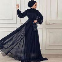 네이비 블루 쉬폰 무슬림 이브닝 드레스 가운 데 야회 2020 긴 소매 하이 넥 아랍어 두바이 댄스 파티 드레스 여성 정장 가운