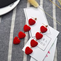 Korean Love Heart Pendant Long Tassel Earrings Red Peach Heart Hairball Dangle Earrings for Women Girls Fashion Jewelry Gift