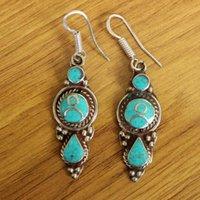 Dangle Chandelier ER173 gioielli Nepal orecchini fatti a mano in rame intarsio turchese pietra per le donne
