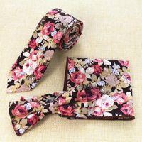 Мужская хлопок шеи галстук галстук и платочек Набор печатных Галстук Платок Набор 6см Тонкий цветочный Neck Ties Тощий Боути