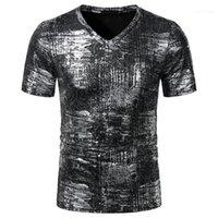 Imprimé Designer T-shirts manches courtes col V T-shirts occasionnels de couleur contrastée Mode T-shirts Vêtements pour hommes Hommes estampillage chaud