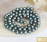 """Catene 17 """"6.5mm rotondo pavone nero nero perle d'acqua dolce collana 14kt chiusura J13293"""