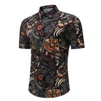 Turn Down Воротник с коротким рукавом Тонкий рубашки лето новый стиль Мужская одежда Цветочные Printed Mens конструктора Tshirts Модное