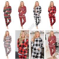 Inverno Natale Plaid Stampa con cappuccio con coulisse Big Pocket Felpa pantaloni delle donne stabilite Fashion Designers Abbigliamento sonno Lounge 5color D9805