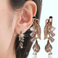 Women Water Drop Cubic Zirconia Dangle Hoop Earrings Wedding...