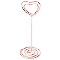Tarjetas de felicitación 6 PCS Forma de corazón Titular de PO Soportes Número de tabla Titulares Coloque la tarjeta Menú de papel CLIPS PARA LA DECURACIÓN DE LA BODA Decoración Oro Rosa