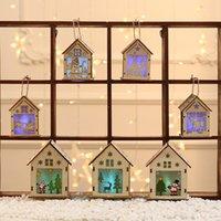 Светодиодные Рождество Деревянный дом Украшение S M L Санта снеговика Дизайн Деревянные Висячие кабины Рождество DIY Орнамент