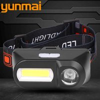 Mini COB LED faro del faro della lampada della testa USB ricaricabile 18650 Torcia escursione di campeggio di notte della luce di pesca