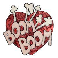 Coração lança emblemas bordados Lantejoula remendo Applique Ferro Roupa On ou sacos de Costura Suprimentos Patches decorativa 6PCS / LOT EP009