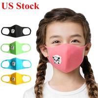 US-Stock-Nette Partei Mund-Maske mit Atemschutz Panda-Form-Atem-Ventil Anti-Staub-Kind-Kinder verdicken Schwamm-Gesichtsmaske Schutz PM2.5