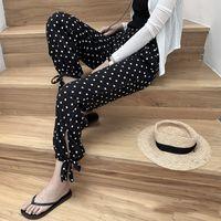Knickerbockers Women's Loose Summer Korean-Style Slim Polka Dot Cropped Wide Leg All-match Thin Chiffon Harlan Capri-Pants