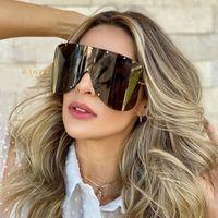 2020 estrella de gran tamaño de la plaza de las gafas de la marca del diseñador de los hombres Una máscara pieza Gafas de sol Mujer Escudo Sombras gafas UV400