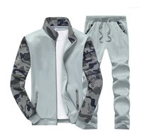 Piece Sets Male Clothing Camouflage Designer Mens Tracksuits Long Sleeve Panelled Printed Mens 2PCS Sets Sports Cardigan Mens Two