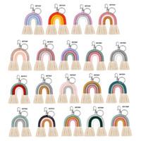 Llavero del arco iris de tejido para las mujeres Handmade Key Holder Llavero Macrame Bag Bag Charm Cocheco Colgante de la joyería Accesorio de decoración