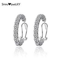 Shipei de prata esterlina 925 criados diamantes Moissanite Rodada brincos de argola casamento Fine Jewelry Engagement Ouro Branco Brincos