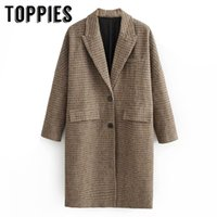 Winter Plaid Long Coat Women Single Breated Woolen Coat Euro...