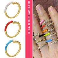 Hecheng anillo colorido de neón del arco iris anillo de la CZ al por mayor de joyería de las mujeres accessries ajusta VJ24 dedo abierto