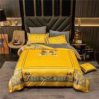 2020 جديد للشتاء الفاخرة المنسوجات المنزلية الفانيلا العلامة التجارية Hourse الذهب الملك حجم الفراش مجموعات غطاء حاف الغطاء وسادات