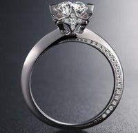 1CT Sterling Silver Wedding Anniversary Moissanite Diamond Ring Engagement Party Body Smycken PT950 Kvinnor Presentkort Diamant Pen Test 2021