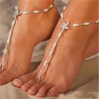 Donne piede cavigliera di cristallo delle stelle marine dei calzini per la cerimonia nuziale di moda Barefoot Beach Sandals catena dell'anello della punta di damigella d'onore nuziale womens gioielli
