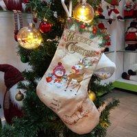 Новый год 2020 Ткань Рождественского чулка конфета Драже Малых сапог Подвеска сумка Рождественских украшения для Санта Главной Сакс Подарков