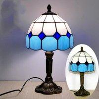 지중해 스타일 레스토랑 바 카페 LED 빈티지 데스크 램프 침대 옆 다채로운 유리 테이블 램프 나이트 테이블 조명 침실 램프 (NO 전구)