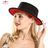 الخارجي الأسود الداخلية الأحمر شقة بريم القبعات شقة الأعلى ورأى الطاقية هات سيدة نساء تقليد الصوف فيدورا قبعات مع الشريط الأسود
