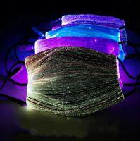 LED 빛 빛나는 마스크의 USB 충전 변경 가능 빛난 다채로운 광섬유 발광 얼굴 디스코 가상 파티 입 커버 HHE1552 마스크