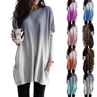 Kadın Midi tişört degrade Renk Uzun Kollu Cep degrade tişört uzun yeni moda Sonbahar renk Gevşek