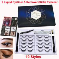 10 пар Магия ложных ресниц Жидкость для снятия Eyeliner Палочки Пинцет Kit 3D 6D немагнитных Ресницы многоразовый клей свободный макияж ресниц