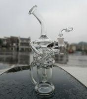Vaso de cristal Bong de ducha Perc Recycler Dab Rig huevo Pipas de agua plataformas petrolíferas pelele Smooth tubo con cuarzo Banger o tazón